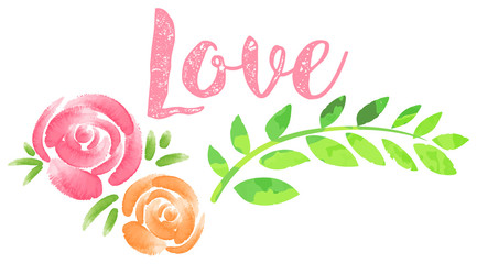 Word love and roses on white background
