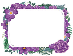 Frame design with purple flowers