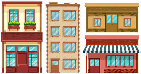Four different designs of shops and apartments