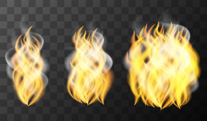 Three pattern of fire on black background