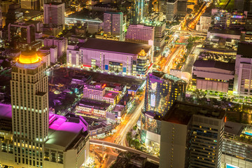 Bangkok city - beautiful sunset long exposure light, cityscape at night  , landscape Bangkok Thailand