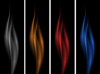 Black background with different color flames