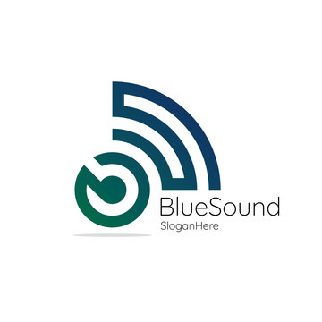 blue sound. Audio signal wireless with initial letter B S. blue and green wave vector logo illustration.