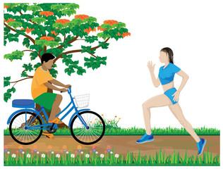 people relaxing in park vector design