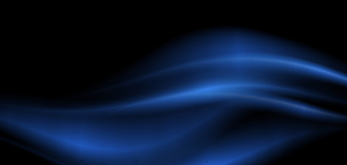 Background design with blue waves on black background