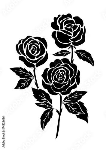 b4c77d969 isolated black rose, flower tattoo illustration, silhouette botanical vector