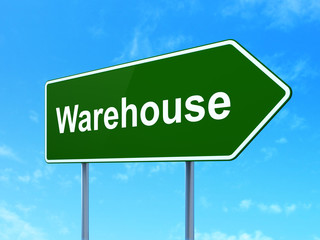 Manufacuring concept: Warehouse on road sign background