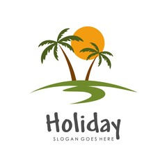 Tropical island, holiday and traveling logo design