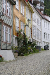 street of Bergen with Wooden houses, Norway