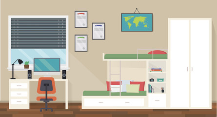 Modern teenager room interior design with trendy workspace for homework: table, chair, map, lamp, computer, stationery, books and bunk bed. Flat style vector illustration.