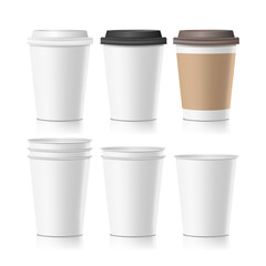 Set Coffee Paper Cups Vector. Empty Clean Paper Collection 3d Coffee Cup Mockup. Isolated Illustration
