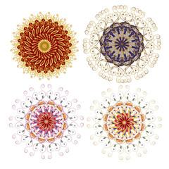Mandala. A set of ornamental floral arrangements in oriental style.