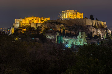 View of the Acropolis at night from Filopappos hill, Athens, Greece
