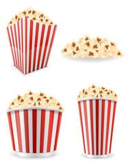 popcorn in striped cardboard package stock vector illustration