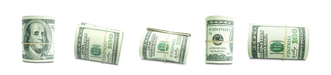 Set of rolled folded banknotes isolated on white background with clipping path.