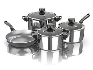 Pots and pans. Set of cooking stainless steel kitchen utensils and cookware.