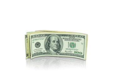 A group of banknotes isolated stand on white background with clipping path.