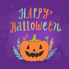 Happy Halloween greeting card. Holiday decoration. Vector cartoon illustration