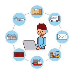 worker with laptop logistic delivery shipping vector illustration
