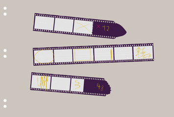 Wall Mural - set of film stripes, with marks photo frames, free copy space,vector