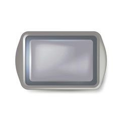 Top view of square black plate. Empty plastic tray. Metal tray salver with Handles. isolated on white background. Vector illustration.
