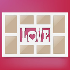 Multi frame set with empty space.Love photo frame. Photo frame collage. Multi frame for several photos. isolated on background. Vector illustration. Eps 10.