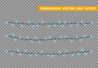 Lights string garlands color blue. Christmas lights isolated realistic design. Glowing Xmas decorations.