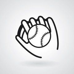 Vector of baseball icon isolated on grey background.