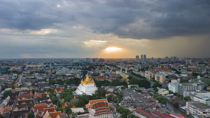 Beautiful Golden Mount Temple Fair, Golden Mount Temple in Bangkok at dusk,  The most travel Landmark of Bangkok Thailand during sunset.