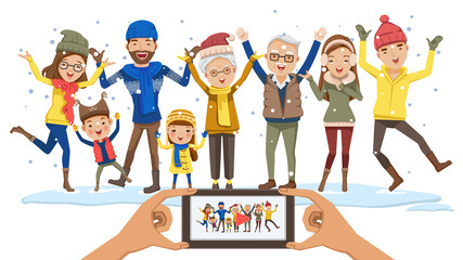 Winter big family snow Having Fun. father, mother, son, daughter Grandfather, grandmother, Adolescent, girl. Jump, smile and playing snowflakes. Look at the camera recording video. Mobile Holding.