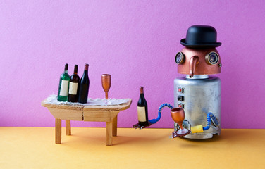 Funny robot alcoholic gets drunk. Wine party event concept. Creative design copper head long nose cyborg with wine glass and bottle. Wooden table, bucket with spirits, pink wall yellow floor interior.