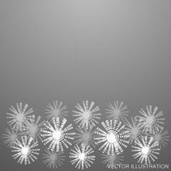 White-black background with glowing flowers. Vector illustration.