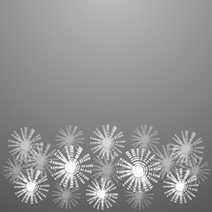White-black background with glowing flowers. Illustration.