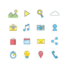 set smartphone technology media icon