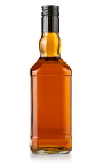 whiskey bottle on white