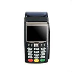 Payment terminal isolated on white backround