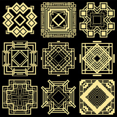 Art deco ornamental elements set. Template for design. Vector illustration eps10
