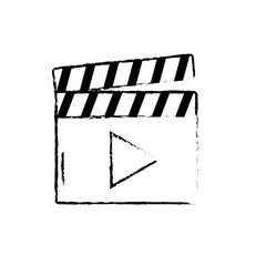 figure clapperboard with video movie studio icon