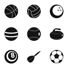 Game equipment icons set, simple style