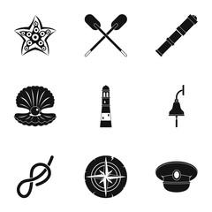 Sea icons set, simple style