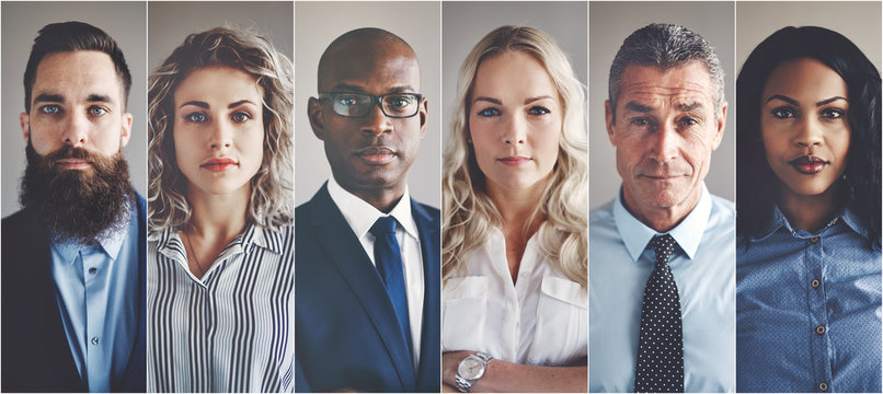 Focused group of ethnically diverse professional businessmen and