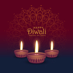 Diwali photos royalty free images graphics vectors videos beautiful diwali greeting card design with three diya lamps m4hsunfo