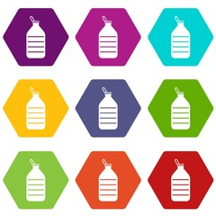Large bottle of water icon set color hexahedron