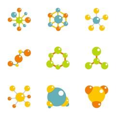 Molecular chemistry icons set, flat style