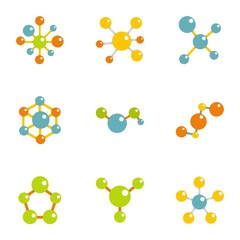 Molecular structure icons set, flat style