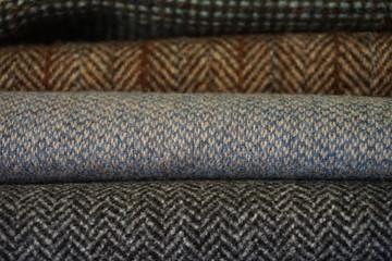 Woven wool tweed fabric