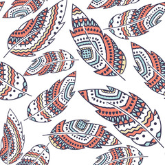 Boho Feather vector seamless repeat pattern, ethnic tribal ornament, detailed illustration, hand drawn, great for fabric and textile, prints, invitation, packaging, greeting cards or any desired idea.