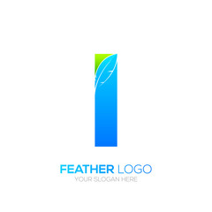 Letter i with Feather logo, Fountain pen, Law, Legal, Lawyer, Copywriter, Writer logotype for your Corporate identity