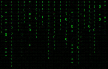The digital data on computer screen background