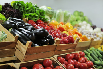 Assortment of fresh vegetables at market